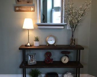Industrial Pipe Shelf : Handmade Reclaimed Wood Console Table w/ Metal Pipe Supports For a Warm Industrial Look - 3 Shelf Version