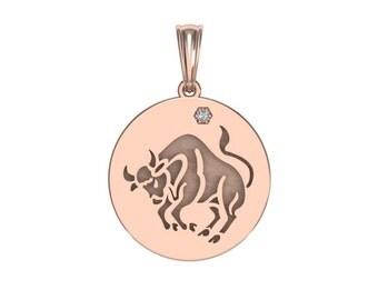 Taurus Necklace, Zodiac Jewelry, Zodiac Necklace, Gold Necklace, Rose Gold Jewelry, White Gold Necklace, Solid Gold Zodiac Necklace