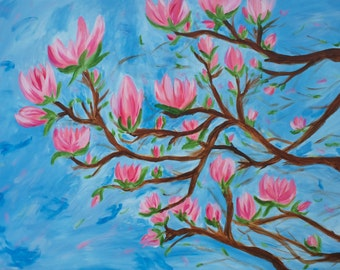 Magnolia tree in pink