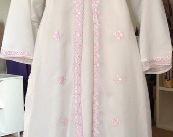White Abaya with Pink threading