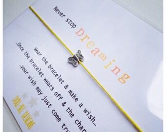 Wishing Bracelet 'Never Stop Dreaming' Wish Bracelet Gift