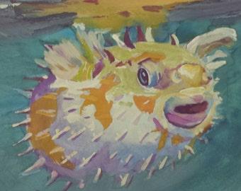 Porcupine Puffer Fish Original Watercolor Painting