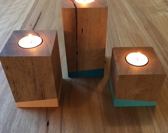 Recycled Timber Tea Light Candle Holder