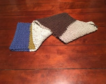 Hand Knitted Multicolor Striped Winter Scarf