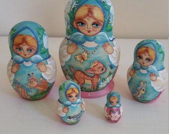 Babushka Doll , 5 pcs Nesting Doll