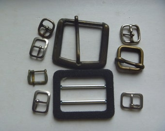 belt buckles, 9 buckles, various sizes
