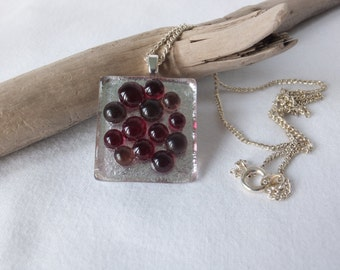 Red and silver fused glass pendent