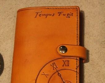 Handstitched Leather Moleskine Journal Cover Tempus Fugit Steampunk