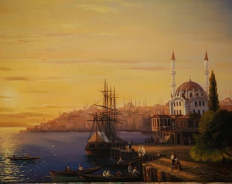 sunset old  istanbul