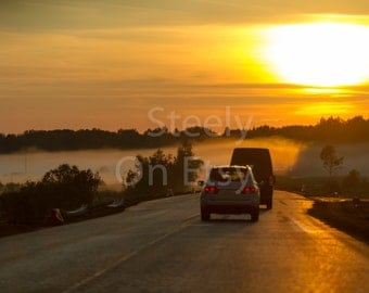 Photo print different sizes, Russian Nature, Fine Art, Photo Print, Russia, Evening, Foggy Sunset, Cars, Twilight
