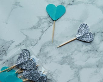 Set of 12 Tiffany inspired heart shaped cupcake toppers. Bridal Shower Cupcake toppers.Heart Shaped Cake Decor.Cake Decor.Silver Toppers