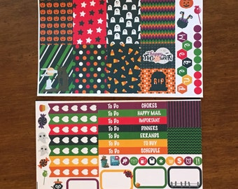 Colorful Halloween Mini Weekly Set ECLP Horz and Vert Planner Stickers - Full Week ECLP Mambi Inkwell Press Filofax Kikki K Happy