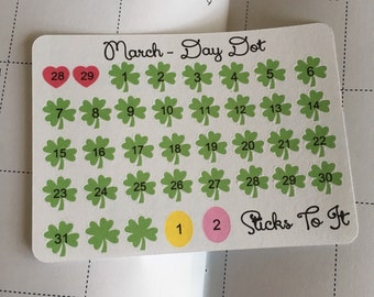 "March Monthly Day ""Dot"" Stickers ECLP Mambi Inkwell Press Filofax Kikki K Happy Life Planner shamrocks hearts eggs green pink"