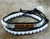 Czech glass double wrap bracelet - Shine