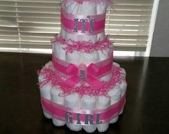 Princess diaper cake, 3 tier