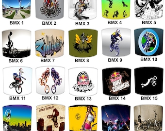 BMX Bicycle Bike Print Lamp shades, To Fit Either a Table Lamp base or a Ceiling Light Fitting.