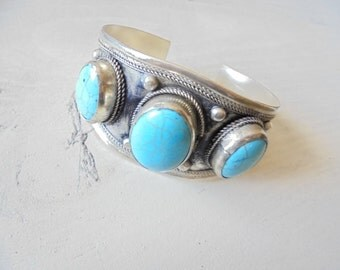 Vintage Bohemian Cuff Bracelet Turquoise Bracelet Turquoise Bracelet Boho Bracelet Boho Cuff Turquoise Cuff