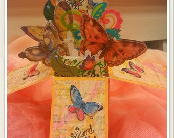 Pop-Up Explosion Card - Bouquet of Butterflies