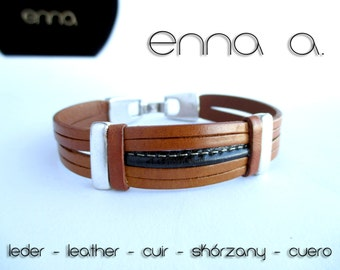 Man leather bracelet light brown