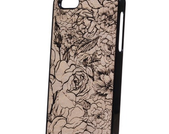 iPhone 5 wood case flowers