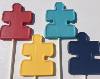 PUZZLE PIECE Chocolate Lollipops*12 Count*Autism Awareness*Birthday Party Favor*Jigsaw Puzzle*Autism Fundraiser*Puzzle Lovers*