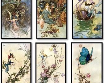 Warwick Goble Fairy Poetry Book Vintage Illustrations Set of 6 Art Prints Fairies, Pixes, Elves