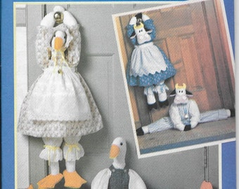 Vintage Pattern - Draft Catchers, Mr and Mrs Cow and Mr and Mrs Goose- Butterick 4779 - Dated  1990   One Size