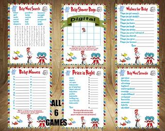 Dr. Seuss Baby Shower Games, Seuss Baby Shower Games, Dr. Seuss Game Bundle, Dr. Seuss Baby Shower Favor, Dr. Seuss Baby Shower Game Bundle