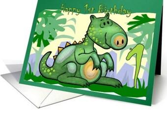 1st Birthday Card, Dinosaur Birthday Card, 2nd Birthday, 3rd Birthday, 4th Birthday, 5th Birthday Dinosaur Card