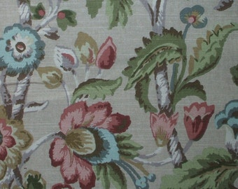 Empress Swag Valance, Elizabeth Floral Linen Beige with Rose, Green, Blue, Gold, Lined