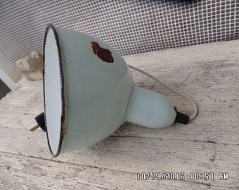 Vintage Enamel Lamp Shade Doctors Lamp  Industrial Barn Lamp Factory Lighting Loft Decor Angled Shade