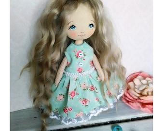 Cloth art doll Art doll Cloth doll Textile doll collecting doll Fabric doll Soft doll Rag doll Doll in dress