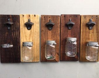 Reclaimed Wood Mason Jar Bottle Opener