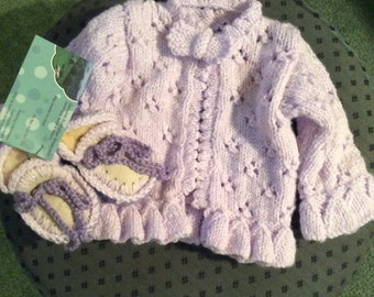 Matching Set - Cardigan and Sheepskin Baby Boots