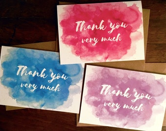 Thank you cards, mixed pack of 9. Watercolour printed notecards with calligraphy. A6 thank you cards.