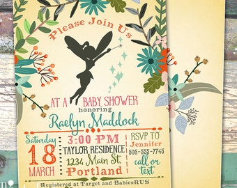 Fairy Floral Baby Shower Bridal Shower or Birthday Personalized Printable Invitation Print at Home