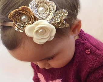 Girls hair accessories, hairbow,gold glitter bow, rose hairband,christams bow, glitter bow