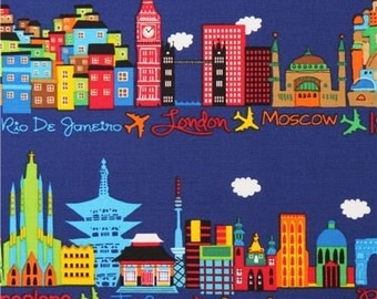 Timeless Treasures Gail Fabric Timeless Treasures Rio London Moscow World Travel fabric Timeless Treasures Blue cotton fabric world travel