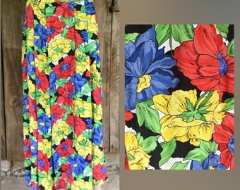 Grunge skirt, grunge floral skirt, bright floral skirt, 90s midi skirt, 90s boho skirt, floral 90s skirt, floral midi skirt, long boho skirt