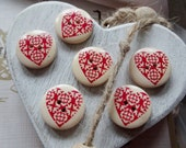 6 Round Wooden Buttons with Painted Heart Design