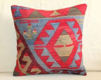 Turkish Kilim Pillow , 16x16 Kilim Pillow ,Throw Kilim Pillow,Pillow Cower, Handmade Kilim Pillow