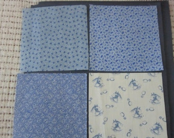 Four 19th Century Prussian Blue Fabric Swatches