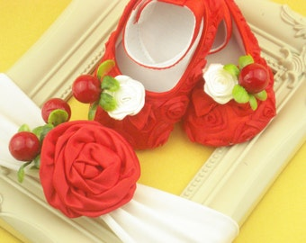Headbands baby Cherries headbands little girl Red shoes infant on the first steps baby Baby gift Flower and cherries baby Toddler shoes