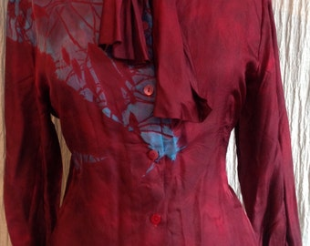 Red silk plus size women's tailored blouse  tie dyed hand dyed silk