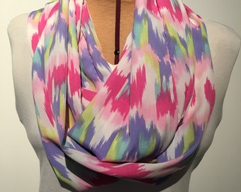 Infinity Scarf, Multicolored Scarf, Pink Scarf, Purple Scarf, Silk Scarf, Silk Chiffon Scarf, Spring Scarf, Double Loop Scarf