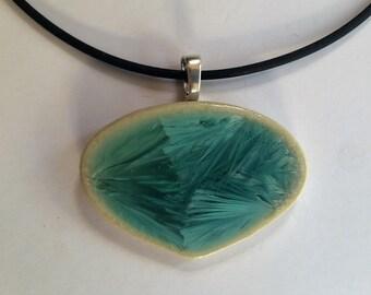 Leaf Porcelain Drop Pendant & Cord