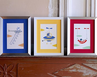 Pack of 3 illustrations / limited edition screenprints / aviator