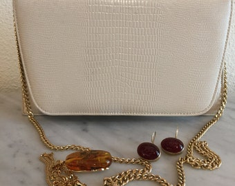 "Free Shipping-1960s ""Ande"" Beige Faux Reptile Leather Purse, Vintage Dressy Clutch with Golden Chain"