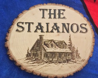 "Wood Burning Art - Custom Pyrography Basswood plaque - oval/rectangle natural bark border - Small 7"" x 5"" to X-Large 16"" x 12"""