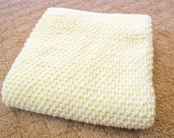 Yellow Waffle-Weave Crochet Baby Blanket